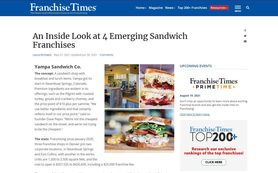 Yampa Sandwich featured in Franchise Times as 4 Emerging Sandwich Franchises